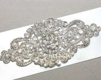 Vintage Ribbon Sash,Crystal Rhinestone Ribbon Sash,Vintage Dress Sash Belt BRH00447