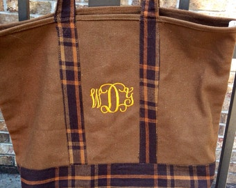 Monogrammed Canvas tote bag/fall colors