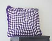 "15"" x 15"" Purple and cream pillow cover , crochet pillow cover,Granny Square ,"