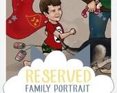 Reserved for Mr. David Sitarski - Custom Family Caricature Portrait - 4 people