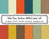 linen texture digital paper backgrounds, boys digital paper orange yellow red navy baby blue brown, photography design, instant download 511