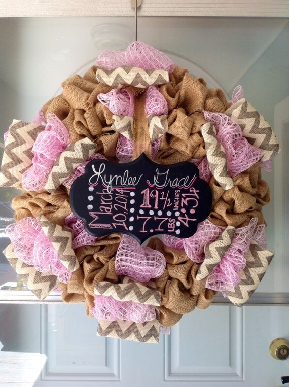 items similar to bubble burlap and deco mesh wreath baby