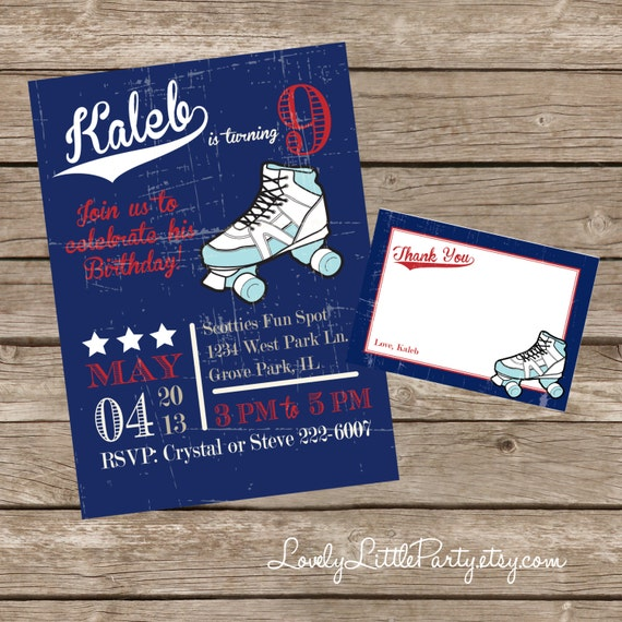 DIY Printable Vintage Roller Skating Birthday Invitation Kit - Invite AND Thank You Card included