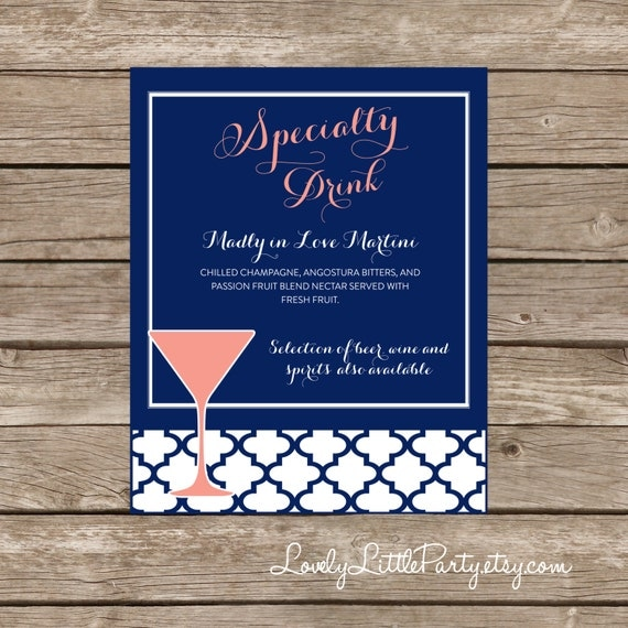 Moroccan SPECIALTY DRINK sign - Printable- You Choose Color - Lovely Little Party