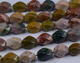 ocean jasper faceted twisted rice bead 15x10mm 15 inch