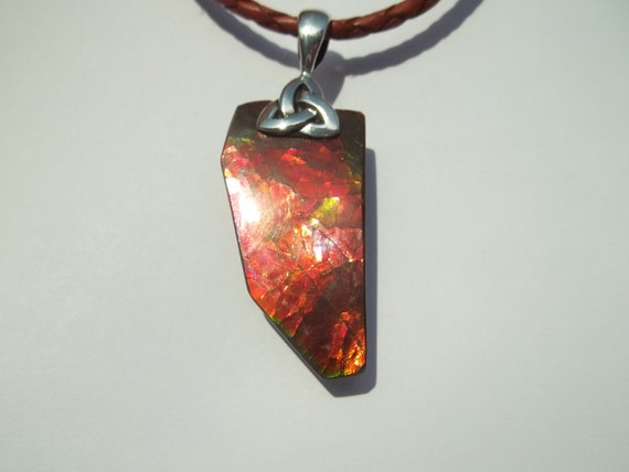 Canadian Ammolite Pendant with 3mm braided natural leather necklace 22 Inches