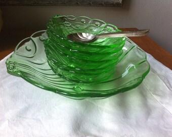 Art Deco green glass fruit set