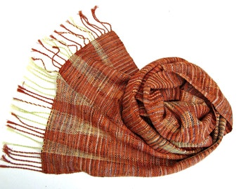 Handwoven  Wrap /  Scarf /  Shawl Brown - Orange / Green   Silk, Unique scarf, Hand dyed