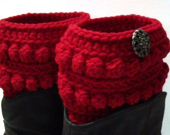 Cherry Red Boot Cuff, Crochet Boot Topper, Faux Boot Sock, Bright Red Boot Cuff, Boot Cover, Short Red Legwear, Cherry Red Legwarmers,