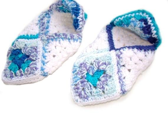 Granny Square Slippers, Crochet Sock Slipper, Seascape Blue White Slipper, Cotton Lady Slipper, Retro Slipper,