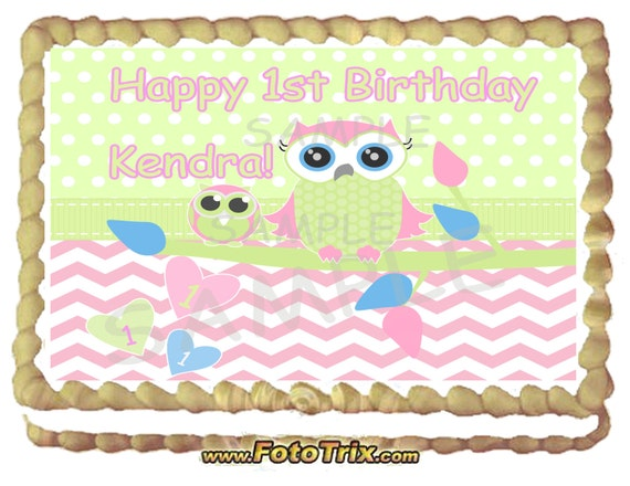 Design Your Own Sheet Cake : Mama and Baby Owl Cake Topper 1/4 sheet Custom Design by ...