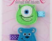 Monster's Inc Felt Hair Clip Clippie 2-pack Embroidered Mike Wazowski Sulley Sully Disney Pixar Monster's University