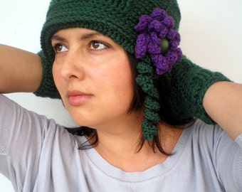 Green City Flower Crochet Set Hat and Gloves Super soft Mixed    wool Woman Set  Hat and Fingerles Mittens NEW