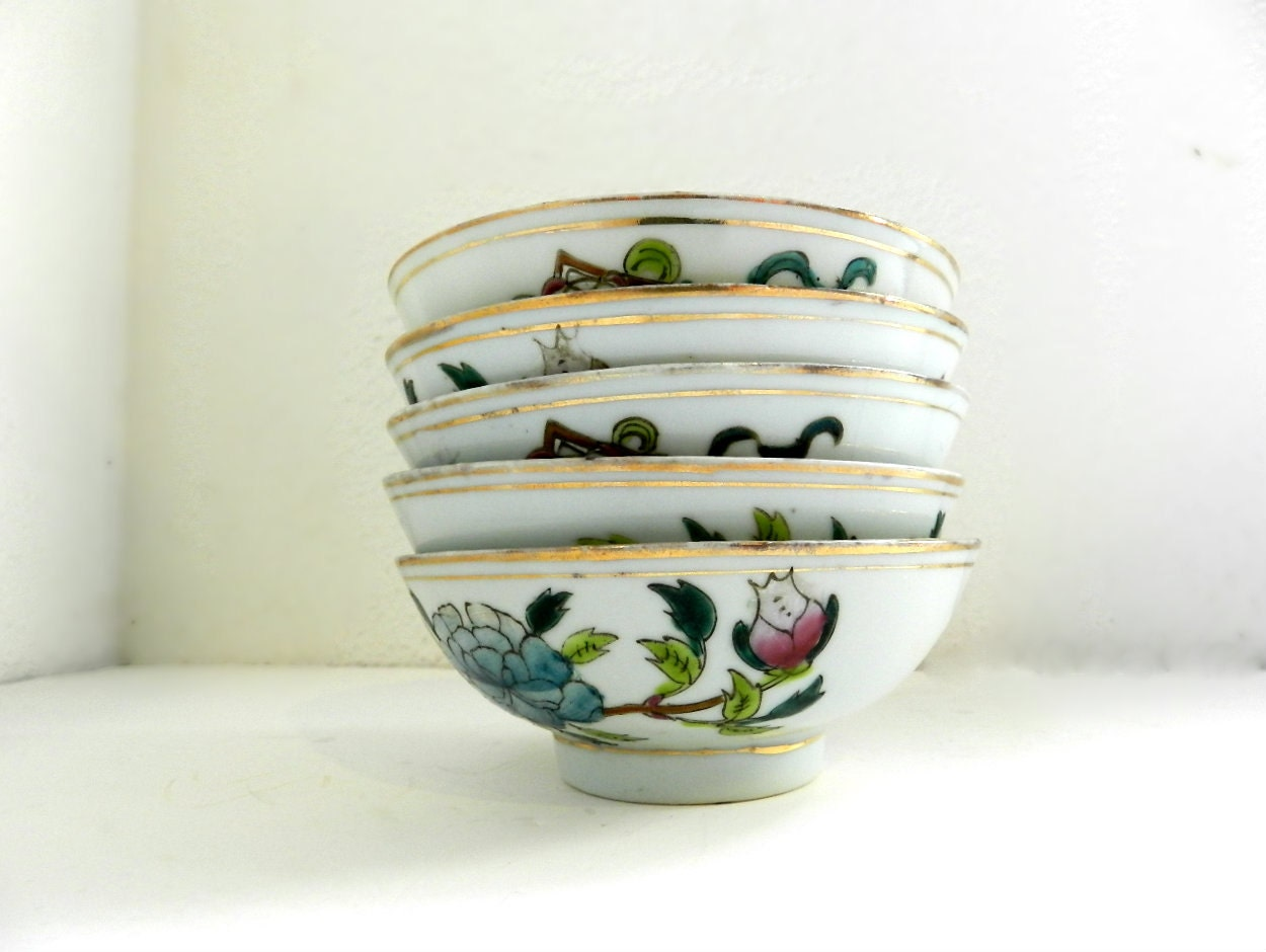 Antique HAND PAINTED BOWLS Authentic Chinese By SolGood808