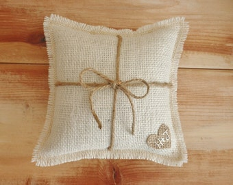 """8"""" x 8""""  Off-White Burlap Ring Bearer Pillow w/ Jute Twine and Burlap Heart -Personalize With Initials- Rustic/Country/Shabby Chic/Wedding"""