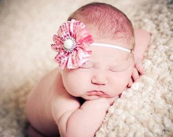 Baby Headband, Pink Headband, Newborn Headband-Pink Sequin Pearl Infant Headband Photography Prop