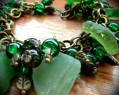 Beach find bracelet - Scottish Green seaglass - bronze charms - Ethnic -OOAK