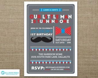 Little Man Birthday Invitation - Mustache Birthday Invitation - Bowtie Invitation - First Birthday Invitation - Boy Birthday - Printable