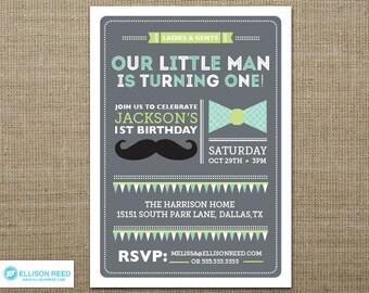 Little Man Invitation - Little Man Printable - First Birthday Invitation - Mustache Birthday Invitation - Bowtie Invitation - Boy Birthday