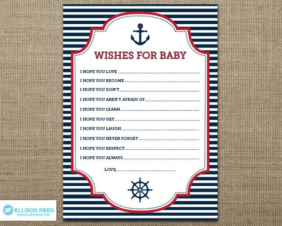 Nautical wish card - Nautical Baby Shower - Wish for Baby - Anchor - Nautical Printable - Ahoy - Sail - Boy Baby Shower - Girl - Red - Navy