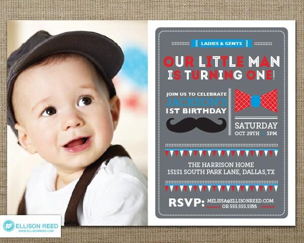 Mustache Invitation Little Man Birthday Invitation First