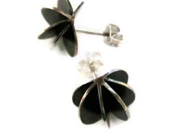 Round Stud Earrings , Oxidized Silver Studs, Black Studs, Modern Earring Studs, Artsian Handmade  by Sheri Beryl
