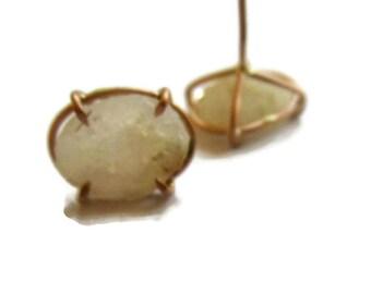 Baby Geode Earring Studs, 14K Rose Gold Geode Stud Earrings, Drusy Quartz Earrings