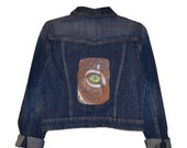 Eye of the Jaguar Machine Embroidered Denim Women's Jacket