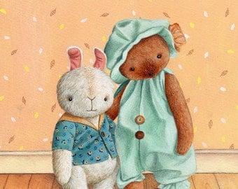 Nursery Art Print, Best Friends, Teddy Bear and Bunny
