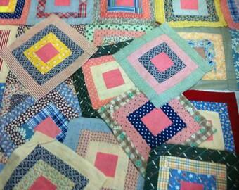 Feed Sack Quilt Squares / Vintage Quilt Squares / Vintage Fabric / Old Quilt Squares / Flour Sack Quilt Squares