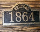 Custom Address Sign Welcome Antique Brass Finished Wood