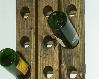 Small Wine Rack Riddling Rack Distressed Wood Antique Style