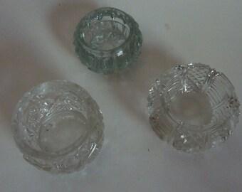 vintage open glass salt cellars set of 3