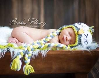 Baby Owl Hat- Sleepy Owl- Choose your colors- Sizes Newborn - 3yrs.