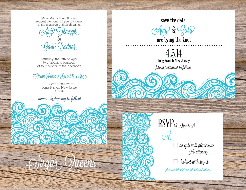 Summer Wedding Invitations: Ocean Waves Summer Wedding Invitation Suite DIY Printable