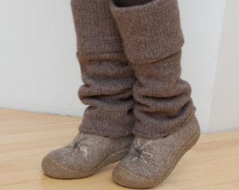 Boiled wool leg warmers brown - knit leg warmers - felted organic wool leggings
