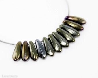 Iris Brown Daggers 10mm (50) Czech Glass Beads Metallic Shiny Teardrop Fang Spike