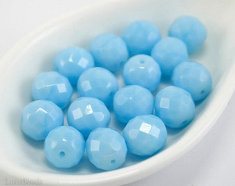 Light Blue Czech Beads 10mm (10) Fire Polished Large Opaque Polish Faceted Glass Round last