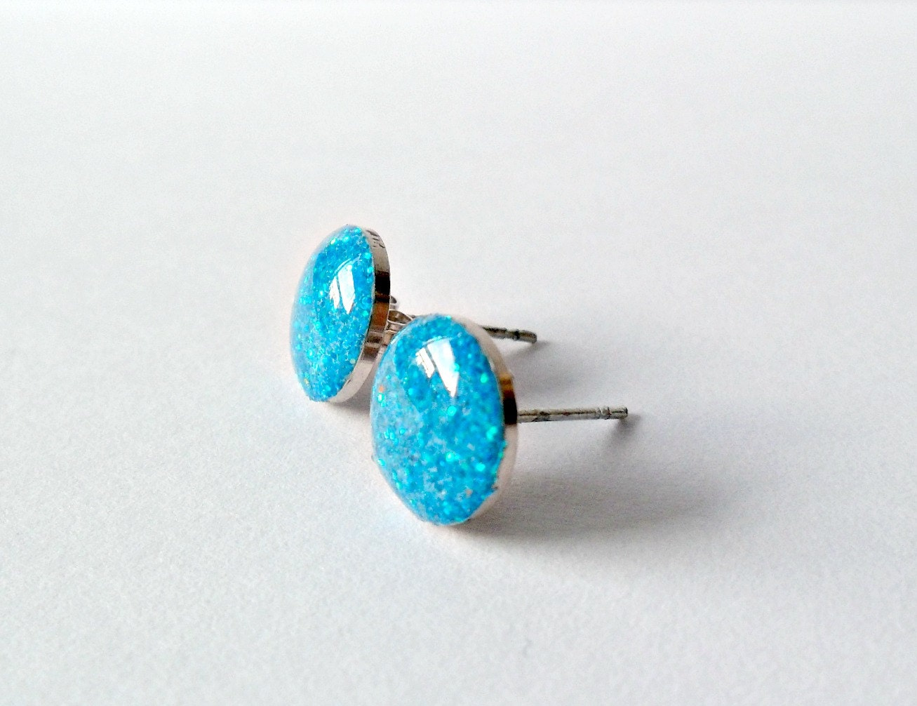 sparkly blue post earrings turquoise glitter by