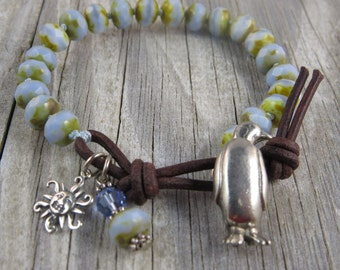 Penguine bracelet, beaded leather bracelet, leather beaded bracelet, light blue bracelet, rustic bracelet, cottage chic