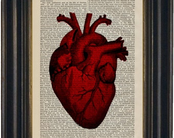 Red Heart  Print on upcycled  1870's Dictionary Page encyclopaedia History of England Page