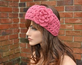 Crochet Ear Warmer, Crochet Headband with Flower in Rose, Head wrap.