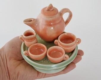 6 pc. Miniature Ceramic Tea Set, Hand Thrown Pink Tiny Tea Pot , Turquoise Tea Tray, Made to Order