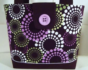 Designer Print Large Tote Bag--Book Bag--Smaller Sized Diaper Bag--Purse--Michael Miller Roundabout--Plum/Lavender/Green/Brown Print