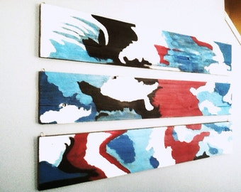 Abstract painting on reclaimed wood with free shipping
