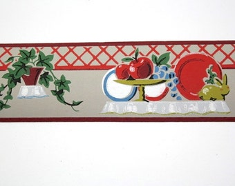 Full Vintage Wallpaper Border - TRIMZ -  Gray and Red Fruit and Ivy Kitchen Design