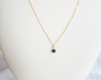 SAMPLE SALE 14K Gold Filled Amethyst Tiny Necklace Womans Delicate Whisper Necklace Simple Style Purple Amethyst Gold Filled Chain