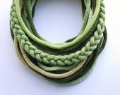 Knitted tube scarf in green