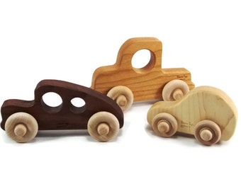Organic Wooden Toy Car Set - Eco Friendly and Safe Fun for Children