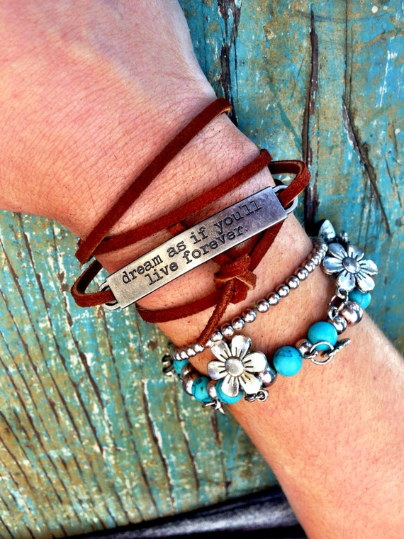 "Leather Cuff Wrap Bracelets with Inspirational Metal Tag - ""the journey awakens the soul"" Adjustable Boho Layering Cuffs"